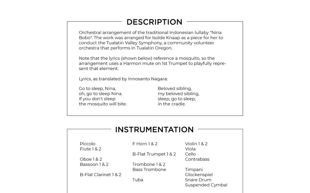 Nina Bobo – A Traditional Indonesian Lullaby – Full Orchestra, Grade 2 – Score & Parts