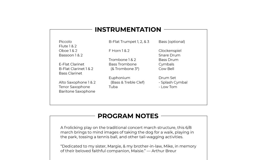 """""""Faithful Companion"""" concert march score and parts by Arthur Breur"""